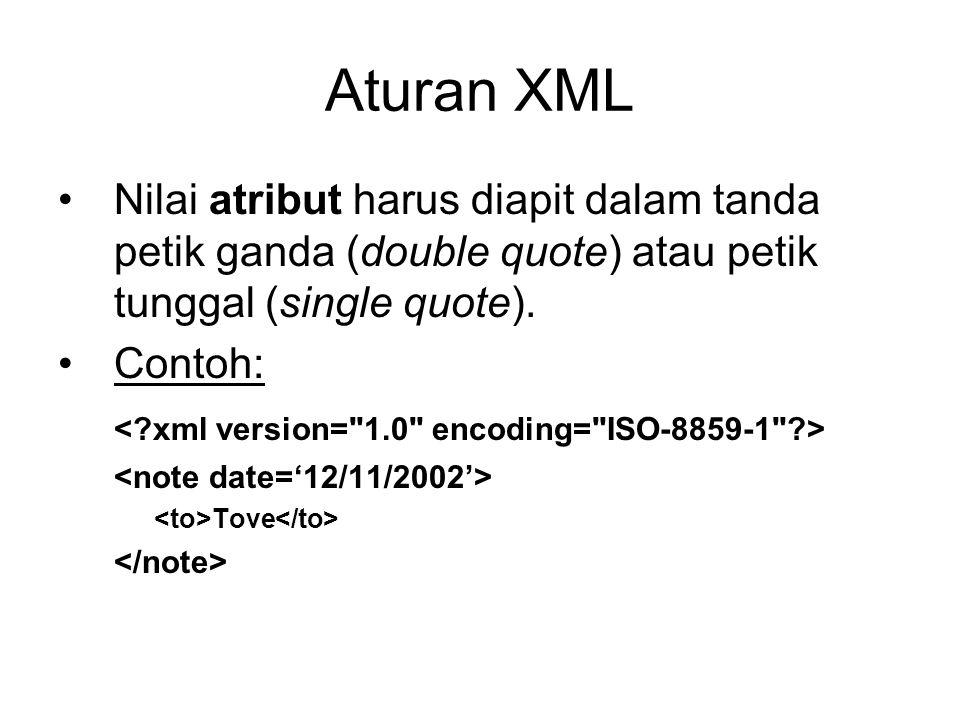 Aturan XML Nilai atribut harus diapit dalam tanda petik ganda (double quote) atau petik tunggal (single quote).