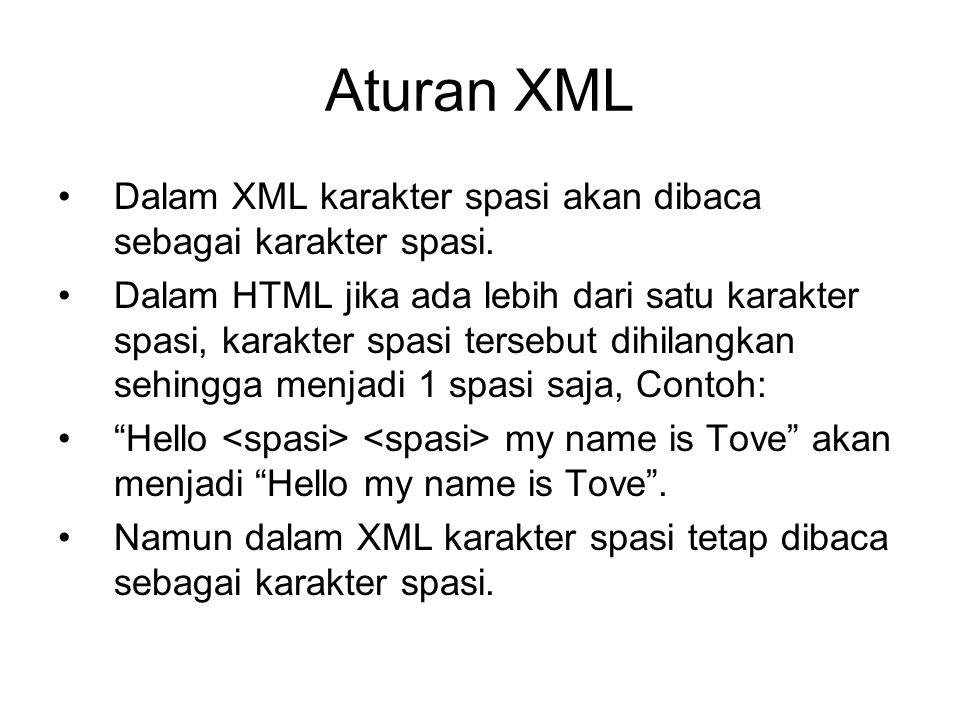 Aturan XML Dalam XML karakter spasi akan dibaca sebagai karakter spasi.
