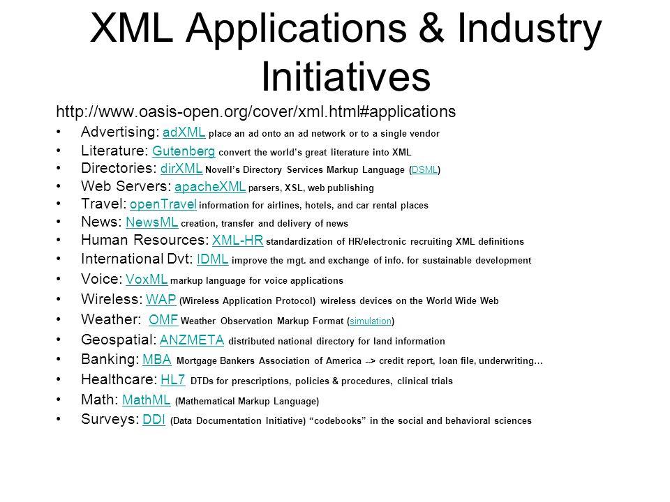 XML Applications & Industry Initiatives