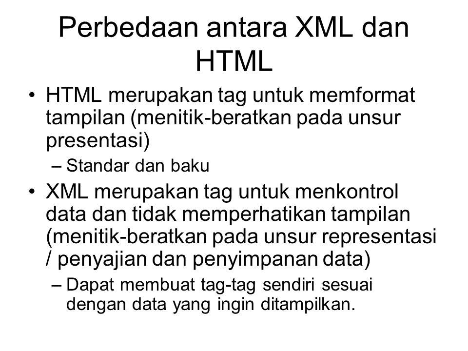 Perbedaan antara XML dan HTML