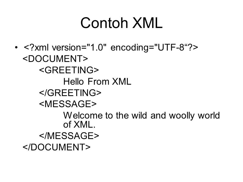 Contoh XML < xml version= 1.0 encoding= UTF-8 >
