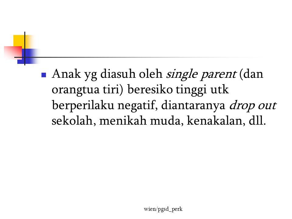 Anak yg diasuh oleh single parent (dan orangtua tiri) beresiko tinggi utk berperilaku negatif, diantaranya drop out sekolah, menikah muda, kenakalan, dll.