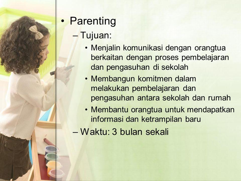 Parenting Tujuan: Waktu: 3 bulan sekali