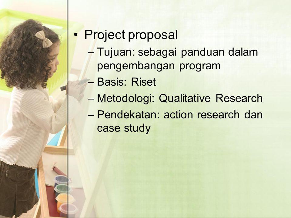 Project proposal Tujuan: sebagai panduan dalam pengembangan program
