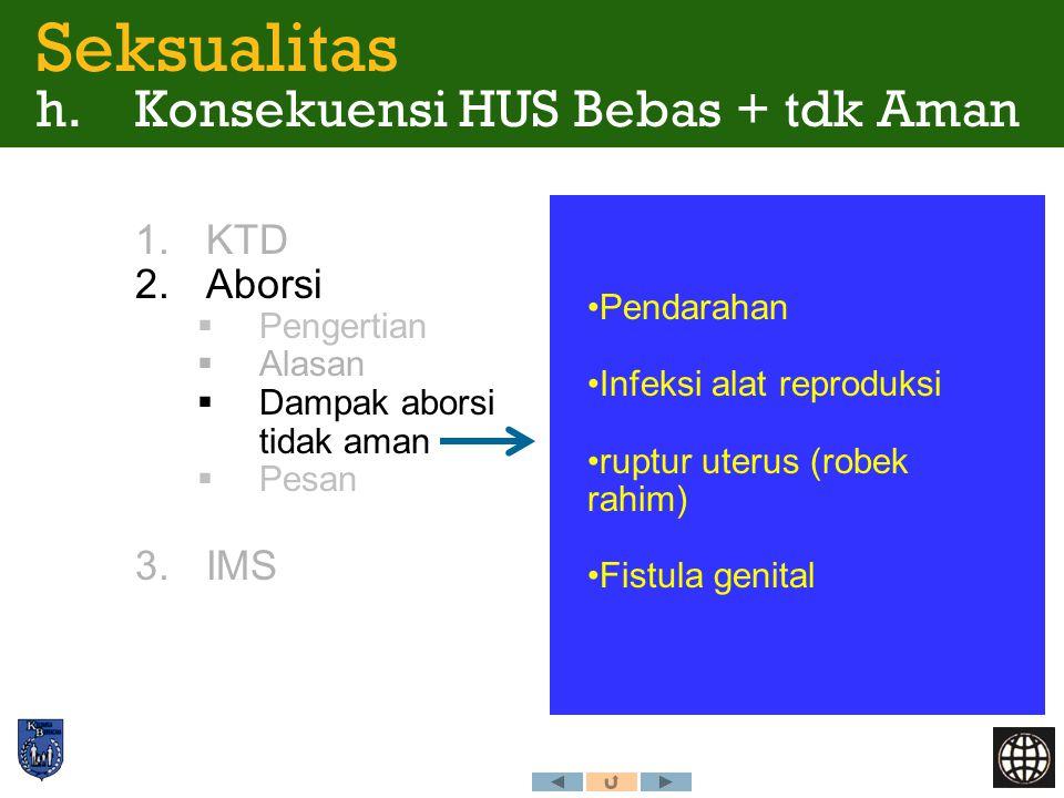 Seksualitas h. Konsekuensi HUS Bebas + tdk Aman