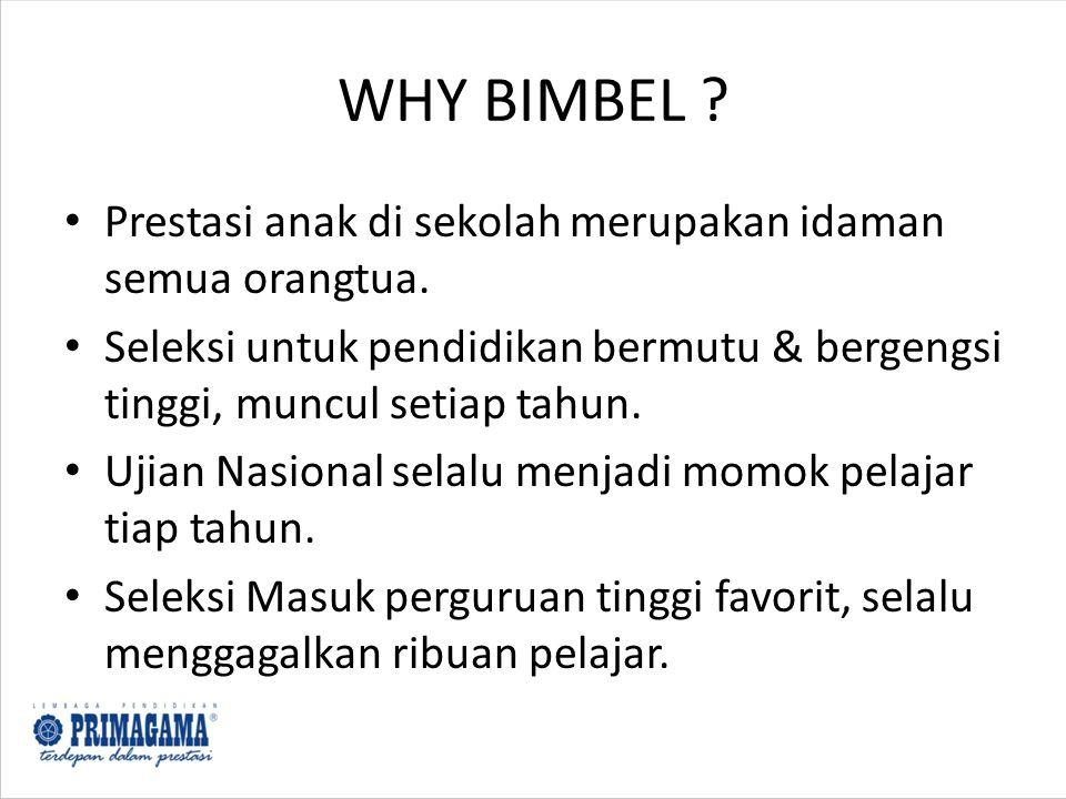 WHY BIMBEL Prestasi anak di sekolah merupakan idaman semua orangtua.
