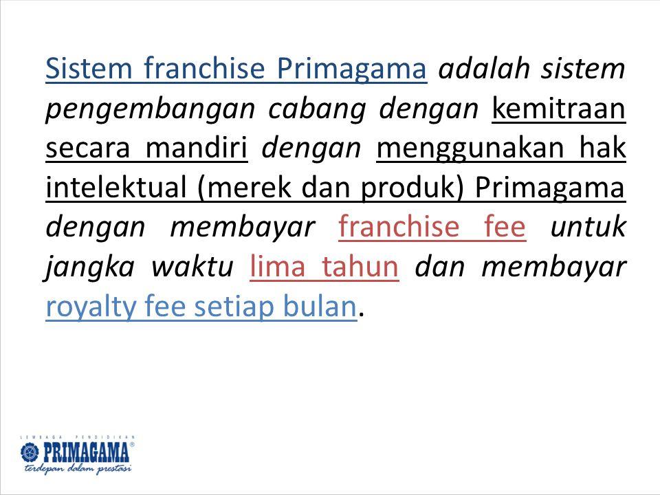 Sistem franchise Primagama adalah sistem pengembangan cabang dengan kemitraan secara mandiri dengan menggunakan hak intelektual (merek dan produk) Primagama dengan membayar franchise fee untuk jangka waktu lima tahun dan membayar royalty fee setiap bulan.