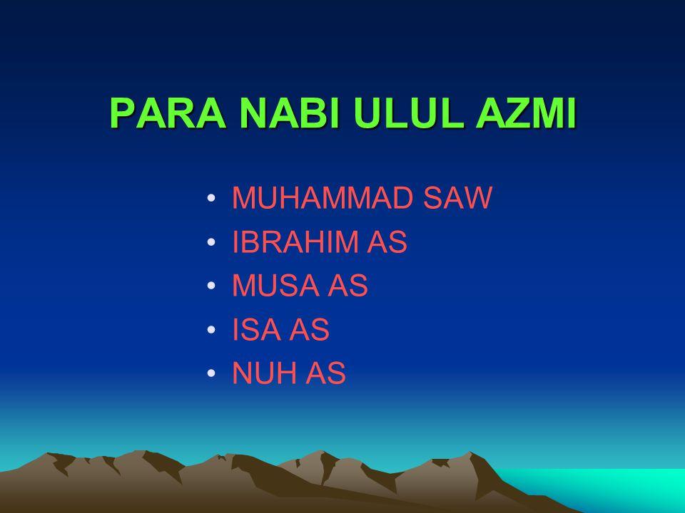 PARA NABI ULUL AZMI MUHAMMAD SAW IBRAHIM AS MUSA AS ISA AS NUH AS