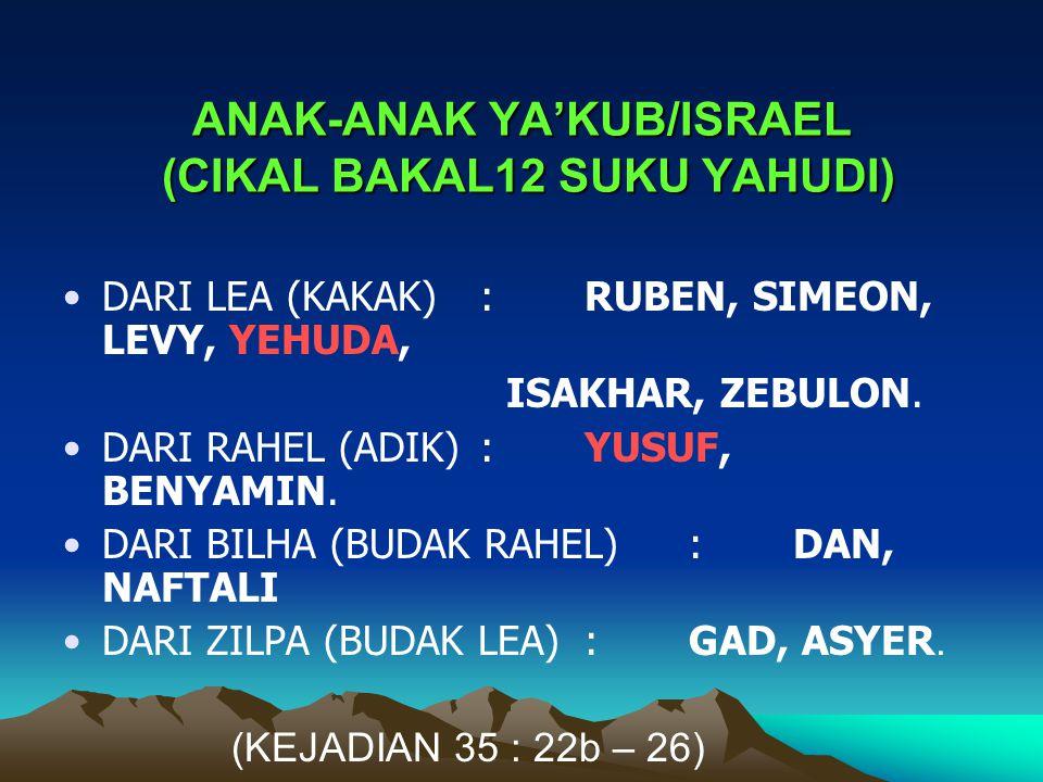 ANAK-ANAK YA'KUB/ISRAEL (CIKAL BAKAL12 SUKU YAHUDI)