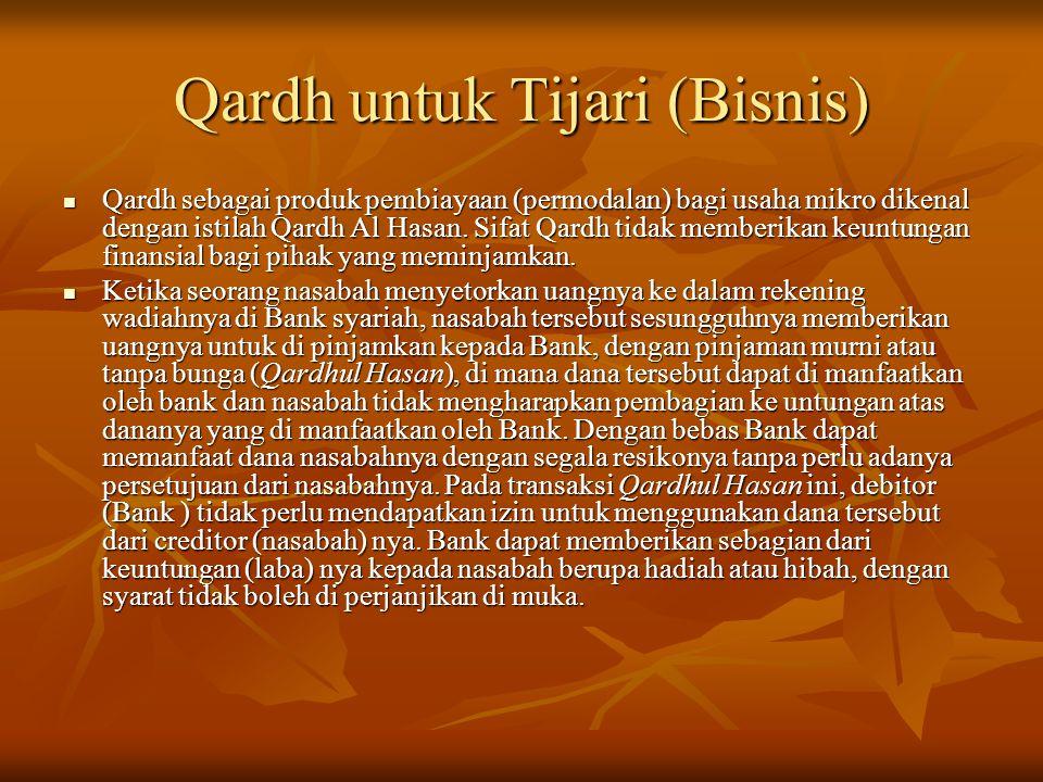 Qardh untuk Tijari (Bisnis)