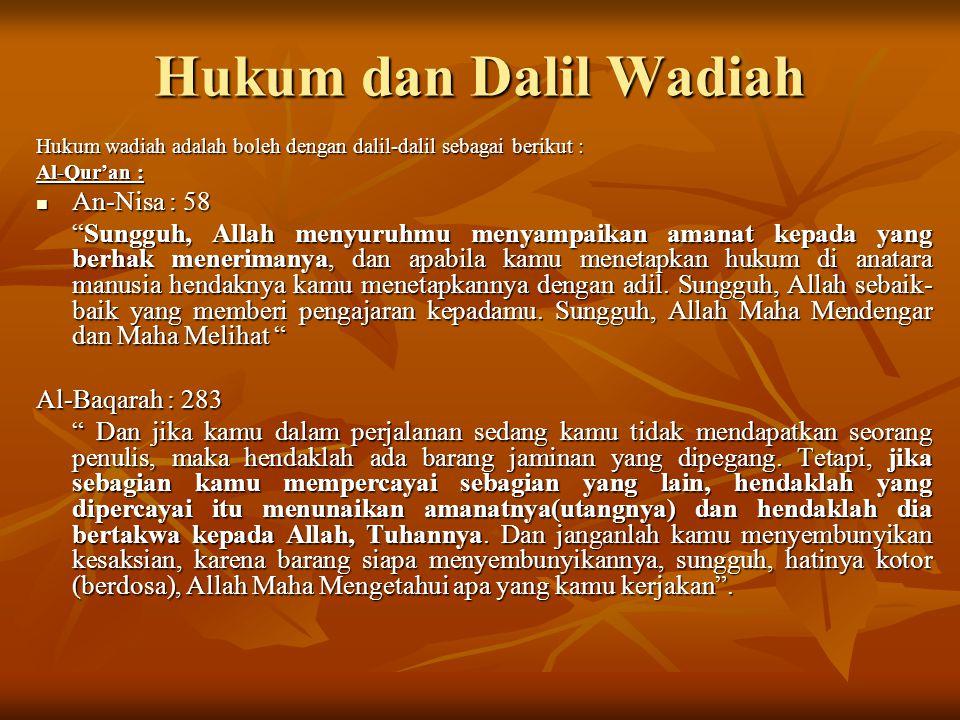 Hukum dan Dalil Wadiah An-Nisa : 58