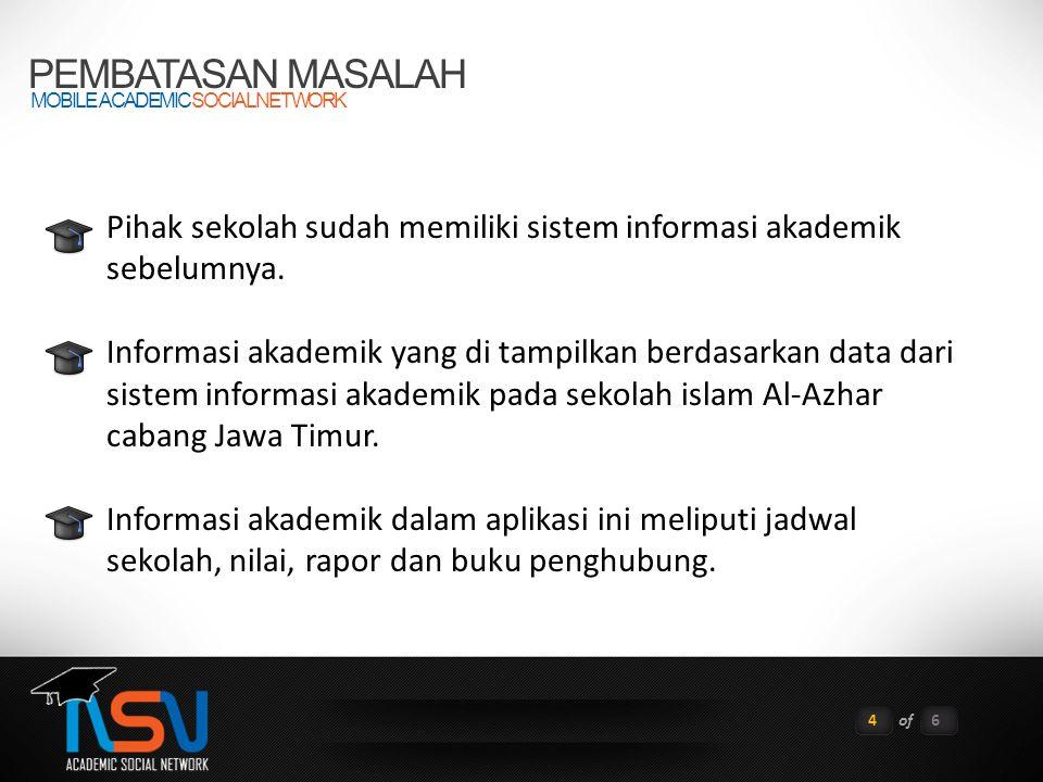PEMBATASAN MASALAH MOBILE ACADEMIC SOCIAL NETWORK. Pihak sekolah sudah memiliki sistem informasi akademik sebelumnya.