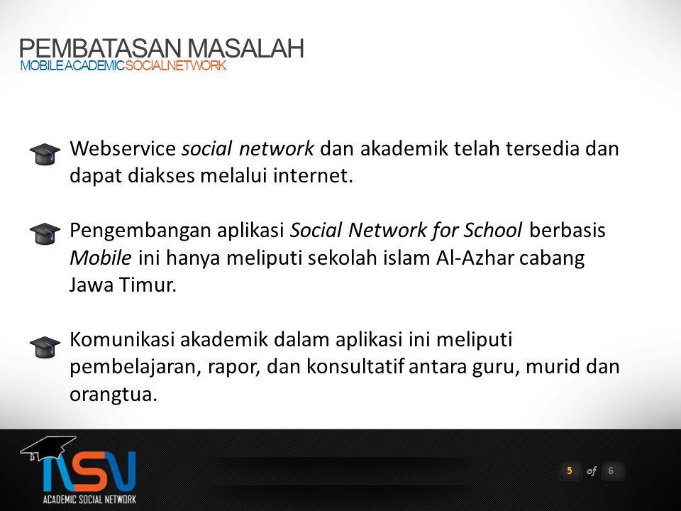 PEMBATASAN MASALAH MOBILE ACADEMIC SOCIAL NETWORK. Webservice social network dan akademik telah tersedia dan dapat diakses melalui internet.