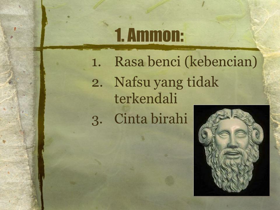 1. Ammon: Rasa benci (kebencian) Nafsu yang tidak terkendali