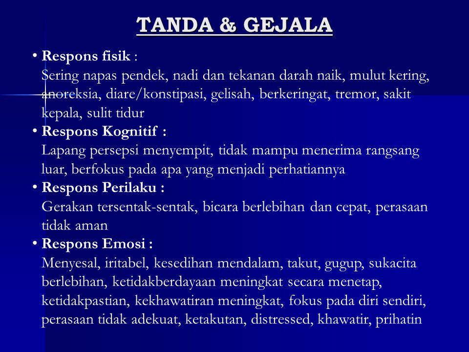TANDA & GEJALA Respons fisik :