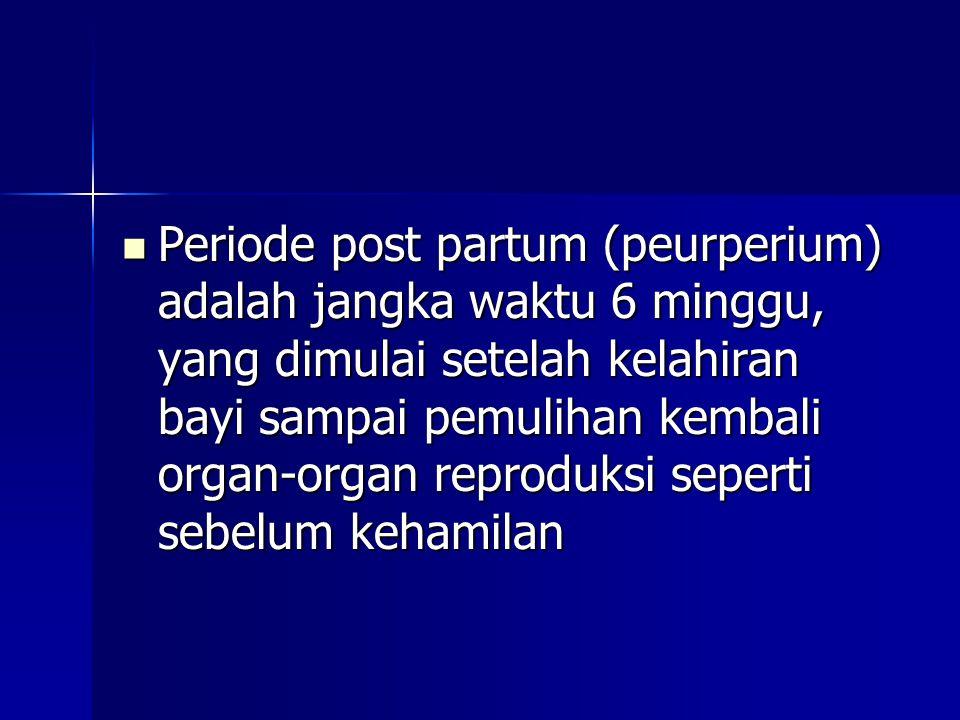 Periode post partum (peurperium) adalah jangka waktu 6 minggu, yang dimulai setelah kelahiran bayi sampai pemulihan kembali organ-organ reproduksi seperti sebelum kehamilan