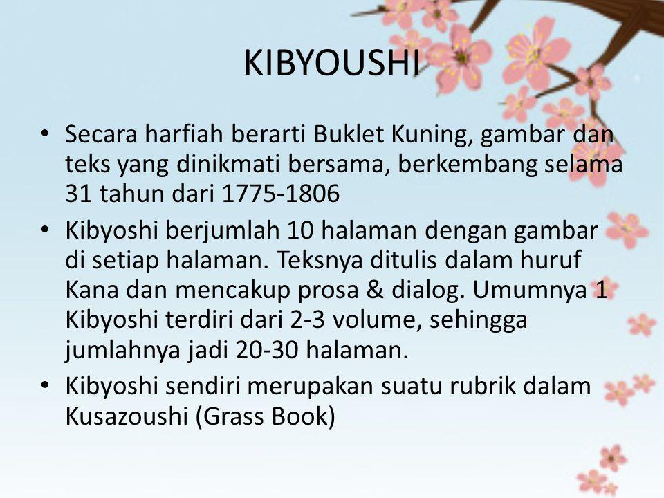 KIBYOUSHI Secara harfiah berarti Buklet Kuning, gambar dan teks yang dinikmati bersama, berkembang selama 31 tahun dari 1775-1806.