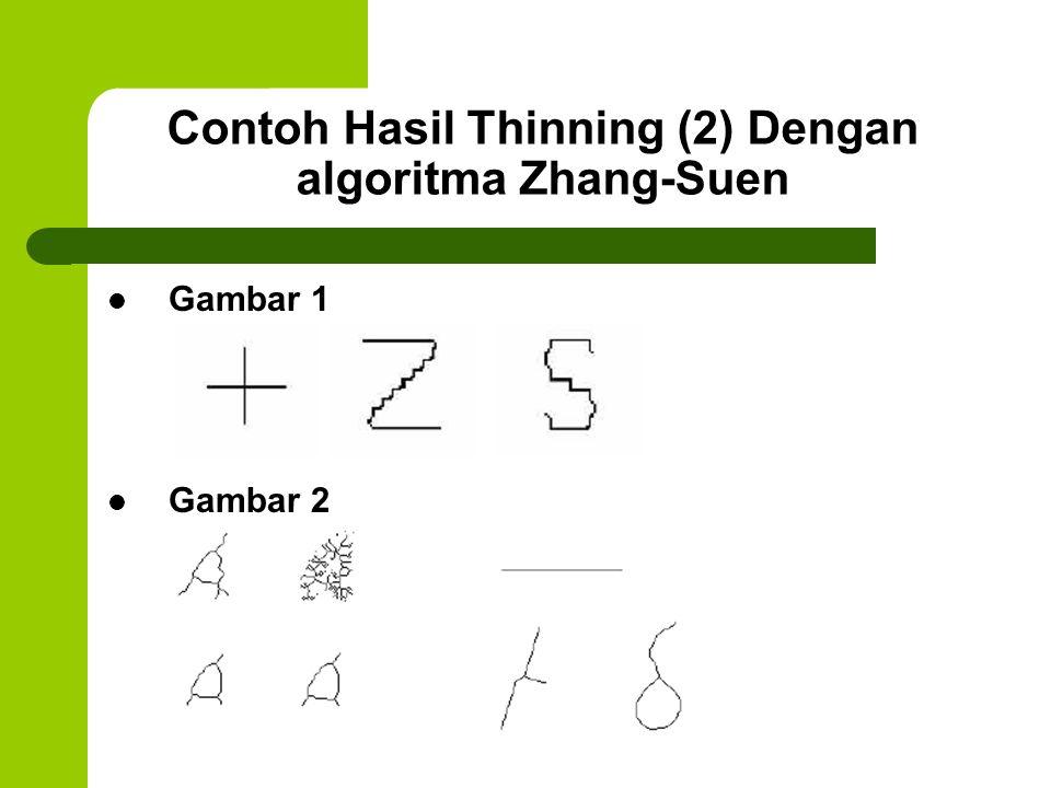 Contoh Hasil Thinning (2) Dengan algoritma Zhang-Suen
