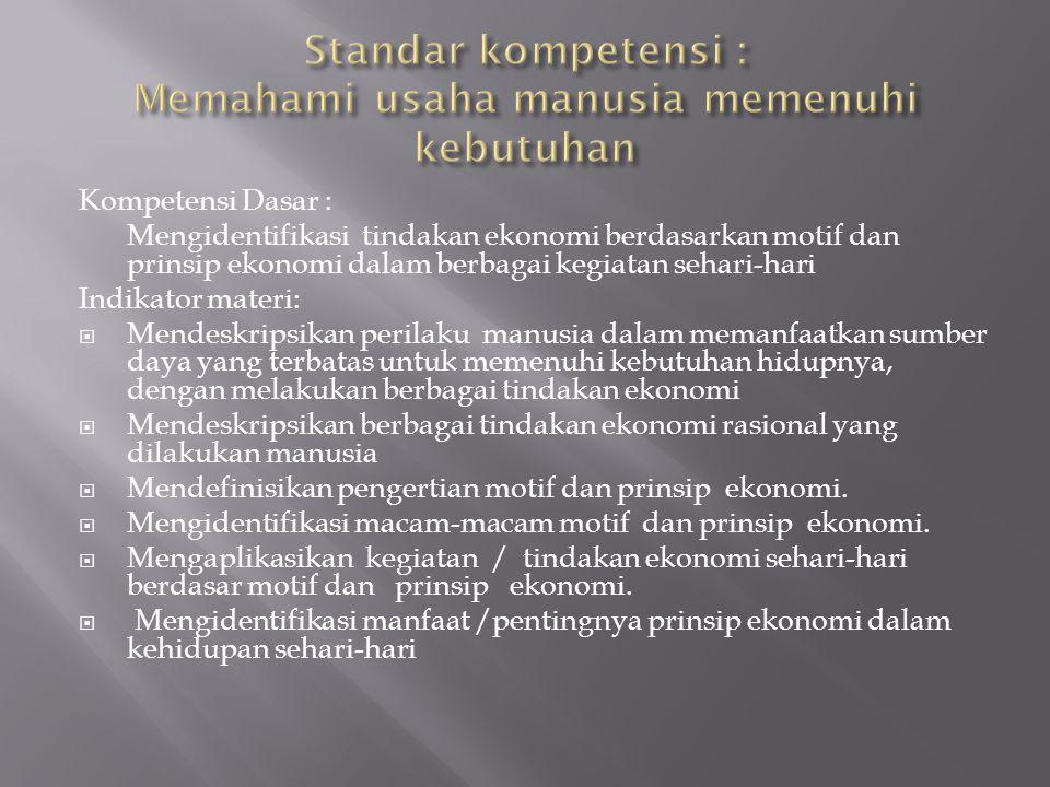 Standar kompetensi : Memahami usaha manusia memenuhi kebutuhan
