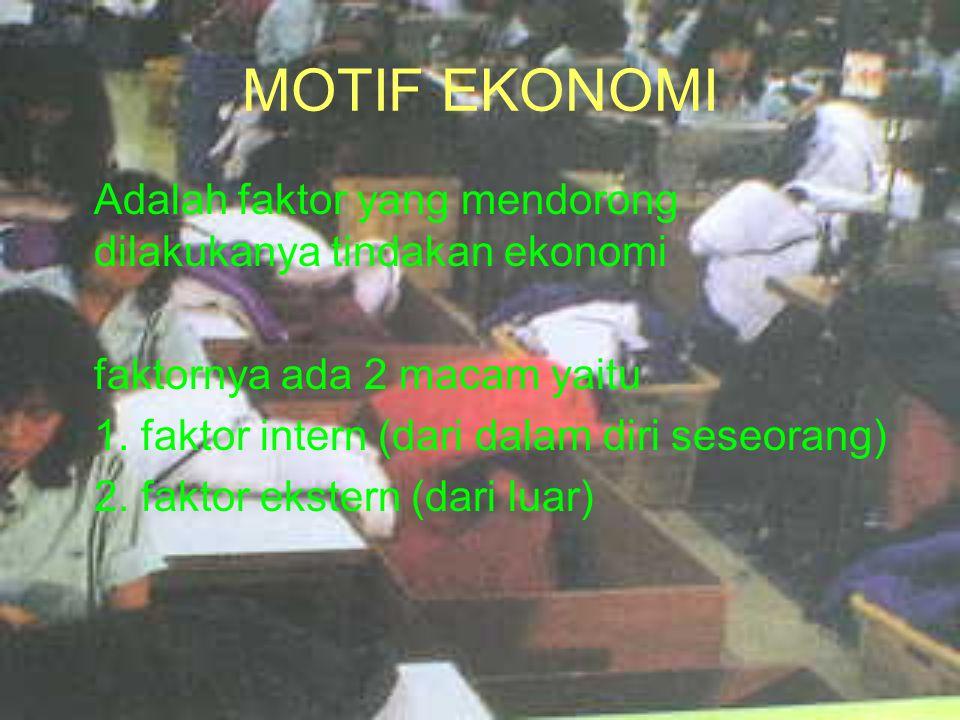 MOTIF EKONOMI Adalah faktor yang mendorong dilakukanya tindakan ekonomi. faktornya ada 2 macam yaitu.