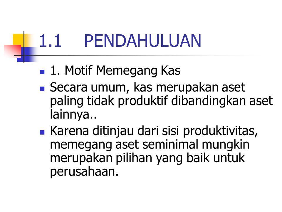 1.1 PENDAHULUAN 1. Motif Memegang Kas