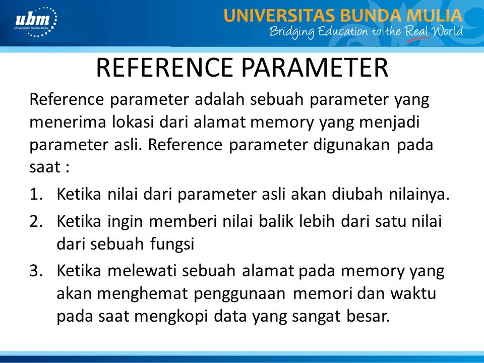 REFERENCE PARAMETER