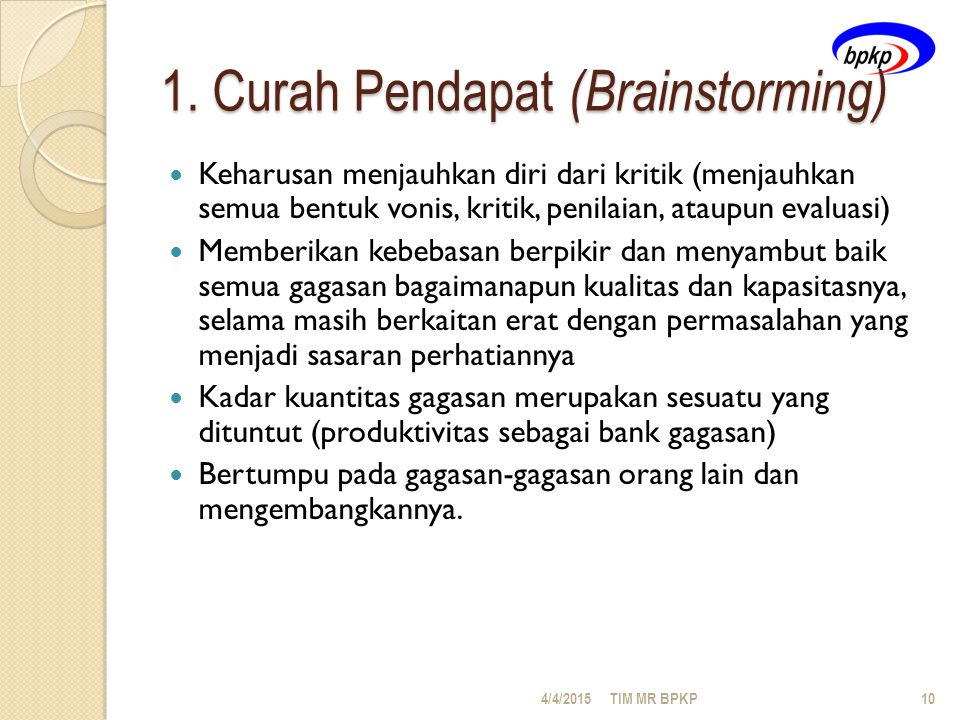 1. Curah Pendapat (Brainstorming)