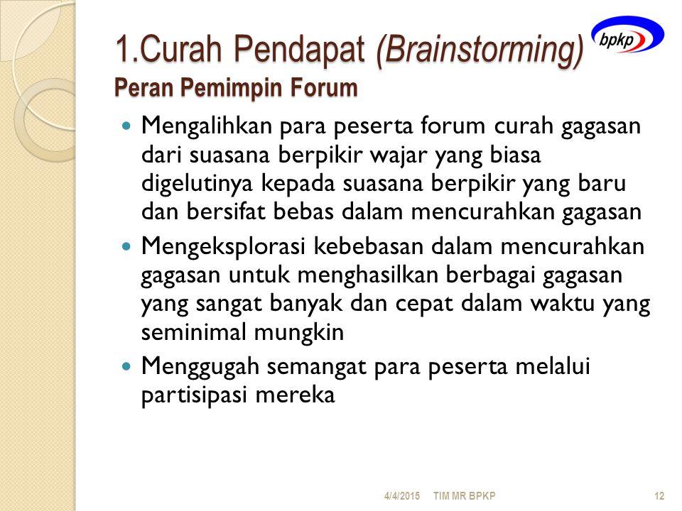 1.Curah Pendapat (Brainstorming) Peran Pemimpin Forum
