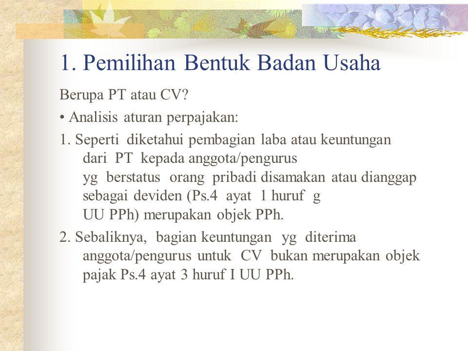 1. Pemilihan Bentuk Badan Usaha