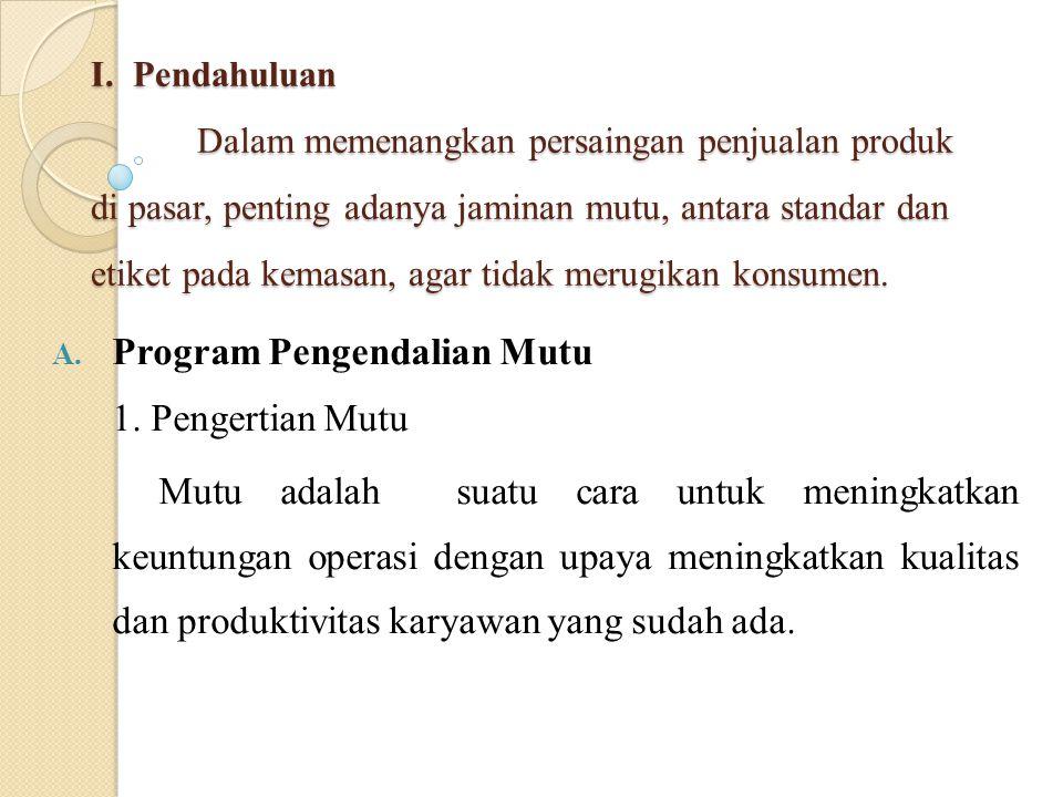 Program Pengendalian Mutu 1. Pengertian Mutu