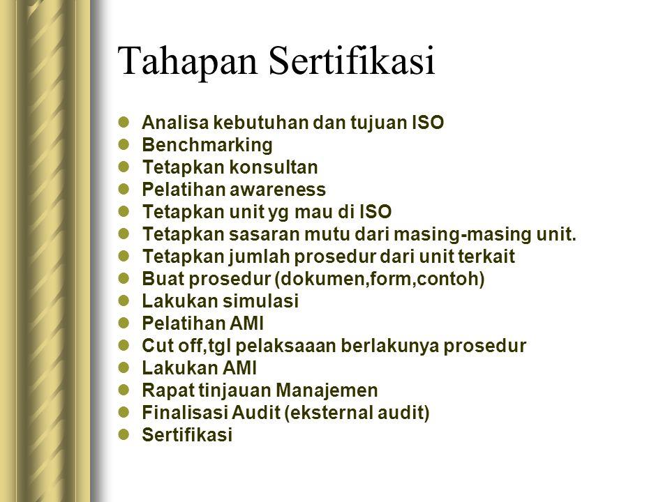 Tahapan Sertifikasi Analisa kebutuhan dan tujuan ISO Benchmarking