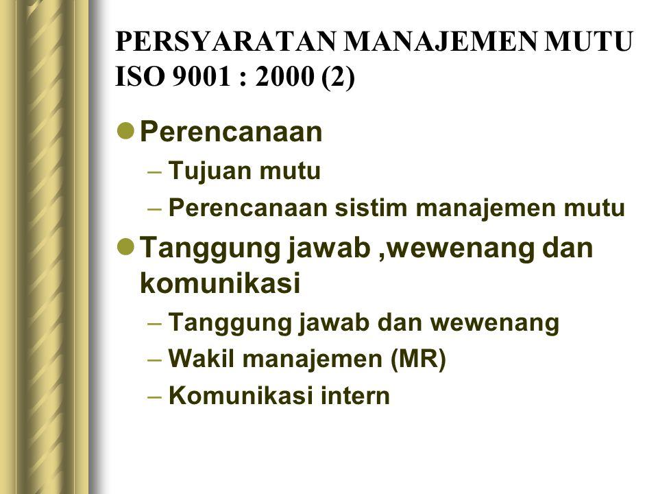 PERSYARATAN MANAJEMEN MUTU ISO 9001 : 2000 (2)