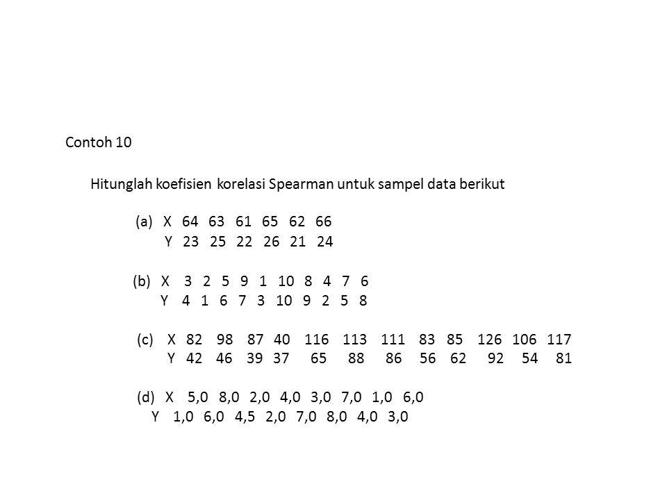 Contoh 10 Hitunglah koefisien korelasi Spearman untuk sampel data berikut. (a) X 64 63 61 65 62 66.