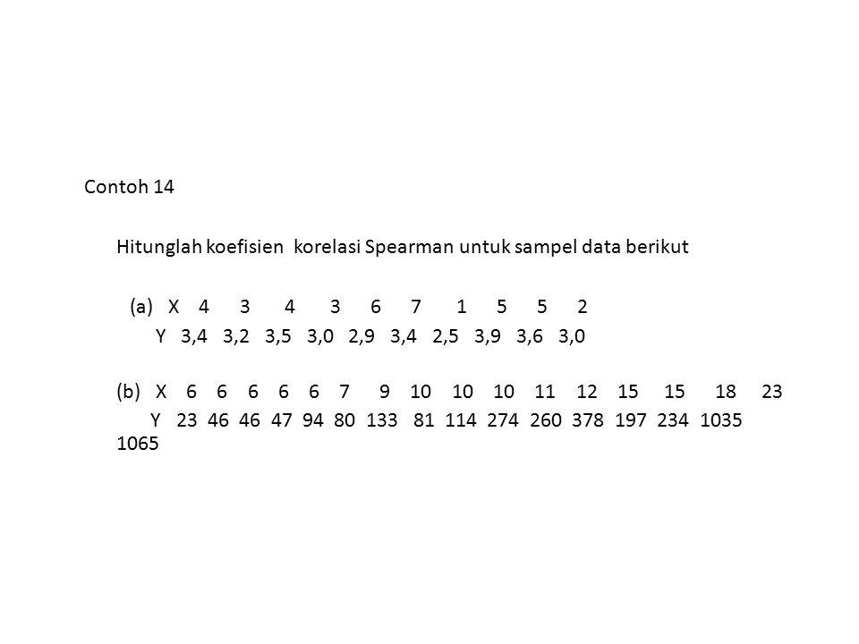 Contoh 14 Hitunglah koefisien korelasi Spearman untuk sampel data berikut.