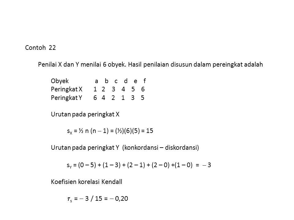 Urutan pada peringkat X sX = ½ n (n  1) = (½)(6)(5) = 15