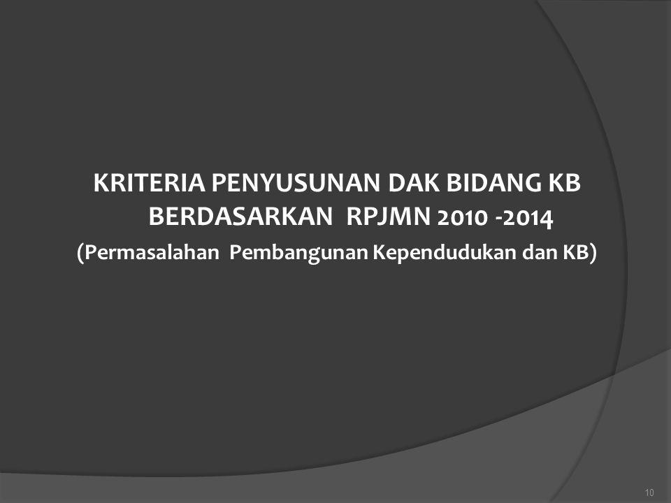 KRITERIA PENYUSUNAN DAK BIDANG KB BERDASARKAN RPJMN 2010 -2014
