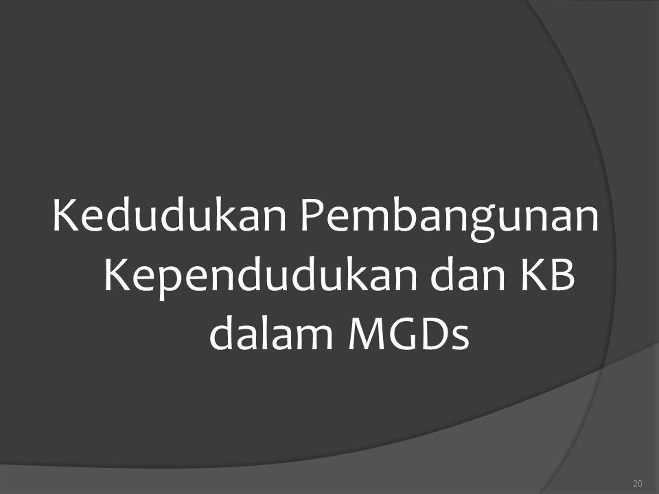 Kedudukan Pembangunan Kependudukan dan KB dalam MGDs