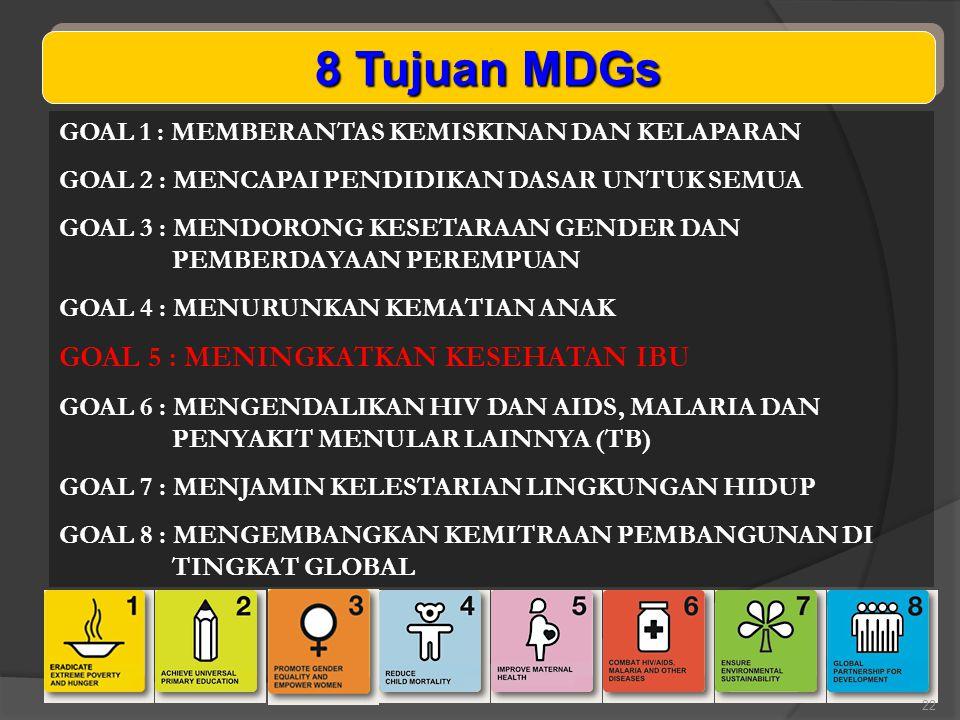 8 Tujuan MDGs GOAL 5 : MENINGKATKAN KESEHATAN IBU