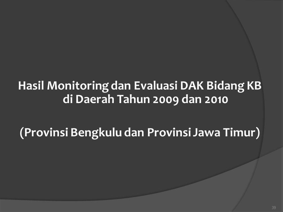 Hasil Monitoring dan Evaluasi DAK Bidang KB di Daerah Tahun 2009 dan 2010 (Provinsi Bengkulu dan Provinsi Jawa Timur)