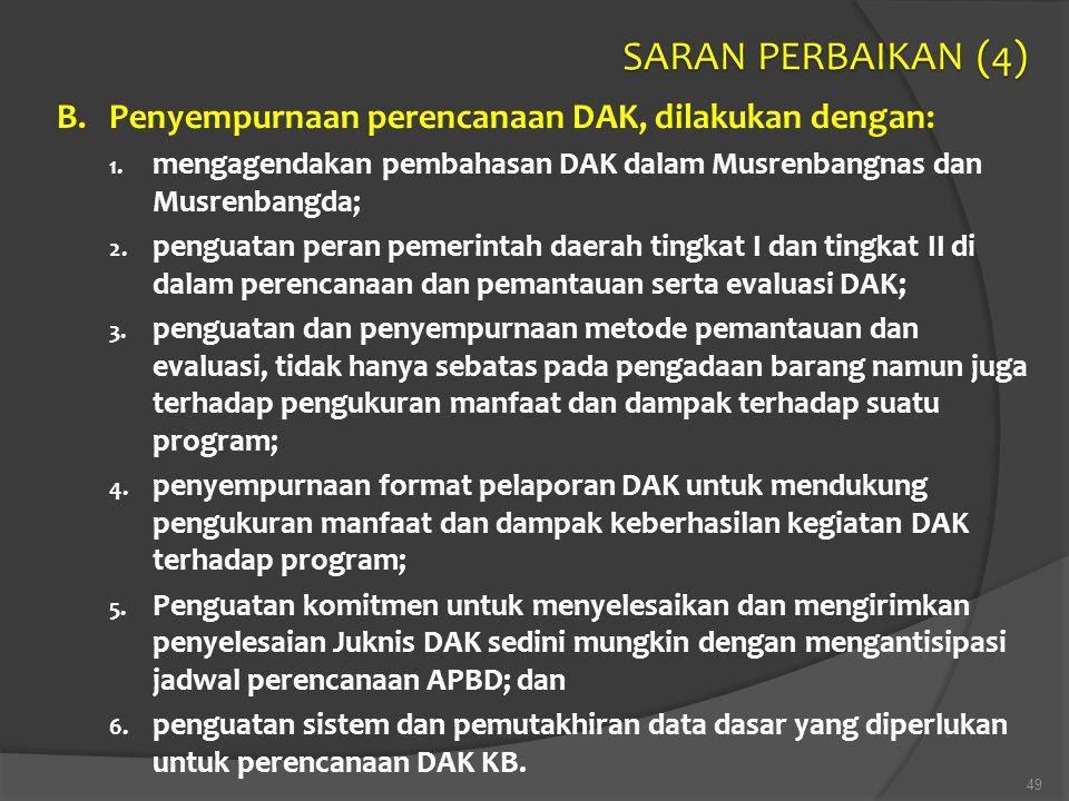 SARAN PERBAIKAN (4) B. Penyempurnaan perencanaan DAK, dilakukan dengan: mengagendakan pembahasan DAK dalam Musrenbangnas dan Musrenbangda;