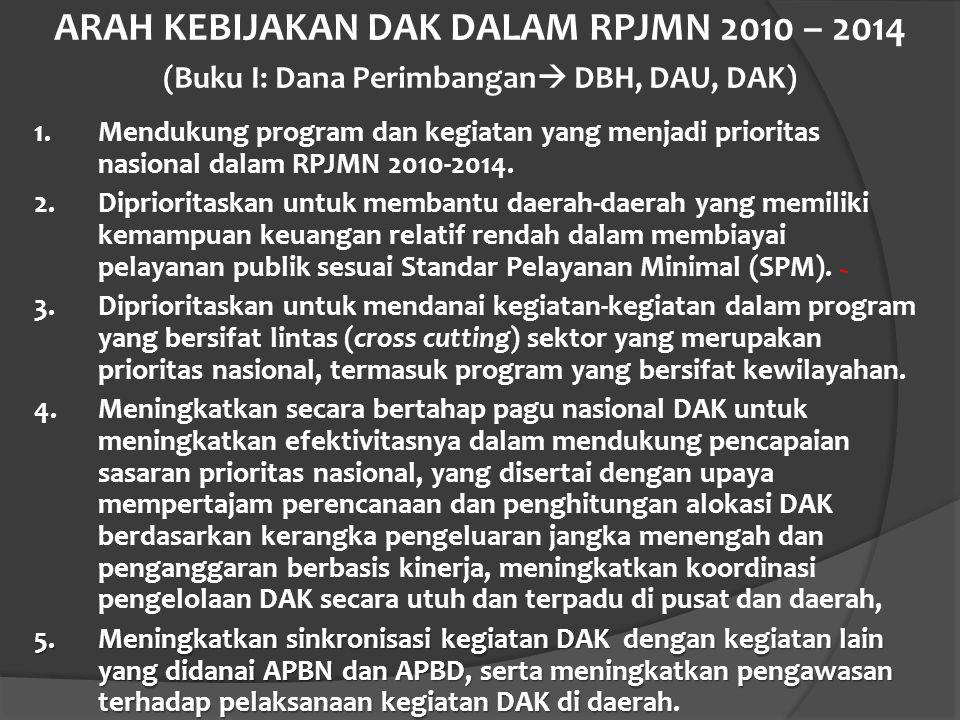 ARAH KEBIJAKAN DAK DALAM RPJMN 2010 – 2014 (Buku I: Dana Perimbangan DBH, DAU, DAK)