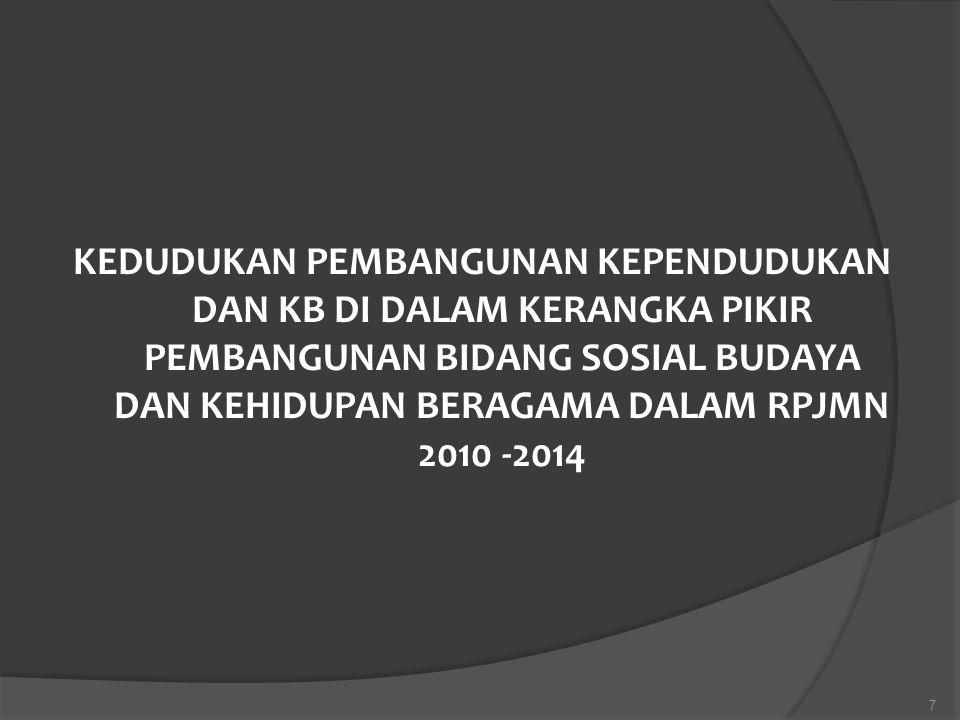 KEDUDUKAN PEMBANGUNAN KEPENDUDUKAN DAN KB DI DALAM KERANGKA PIKIR PEMBANGUNAN BIDANG SOSIAL BUDAYA DAN KEHIDUPAN BERAGAMA DALAM RPJMN 2010 -2014