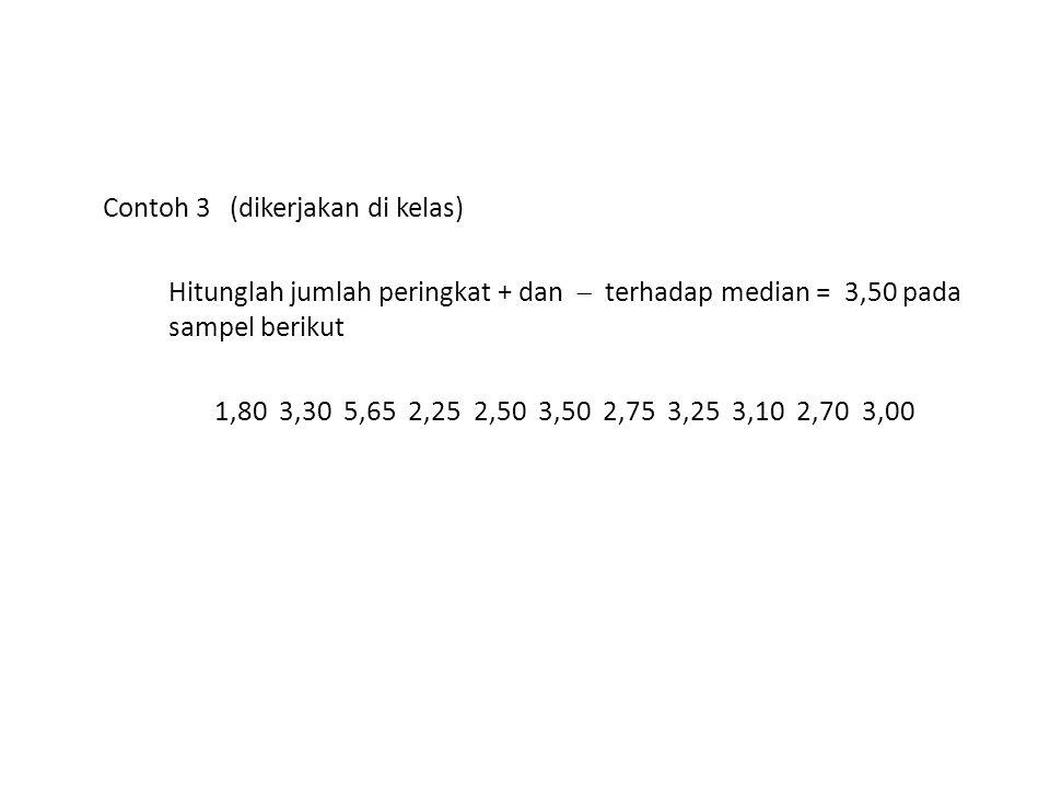 Contoh 3 (dikerjakan di kelas) Hitunglah jumlah peringkat + dan  terhadap median = 3,50 pada sampel berikut 1,80 3,30 5,65 2,25 2,50 3,50 2,75 3,25 3,10 2,70 3,00