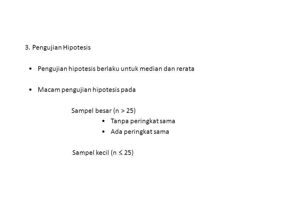 3. Pengujian Hipotesis Pengujian hipotesis berlaku untuk median dan rerata. Macam pengujian hipotesis pada.