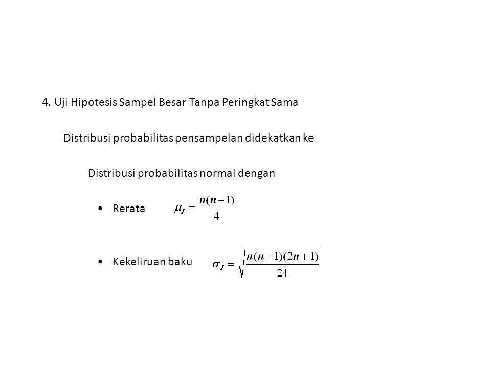 4. Uji Hipotesis Sampel Besar Tanpa Peringkat Sama