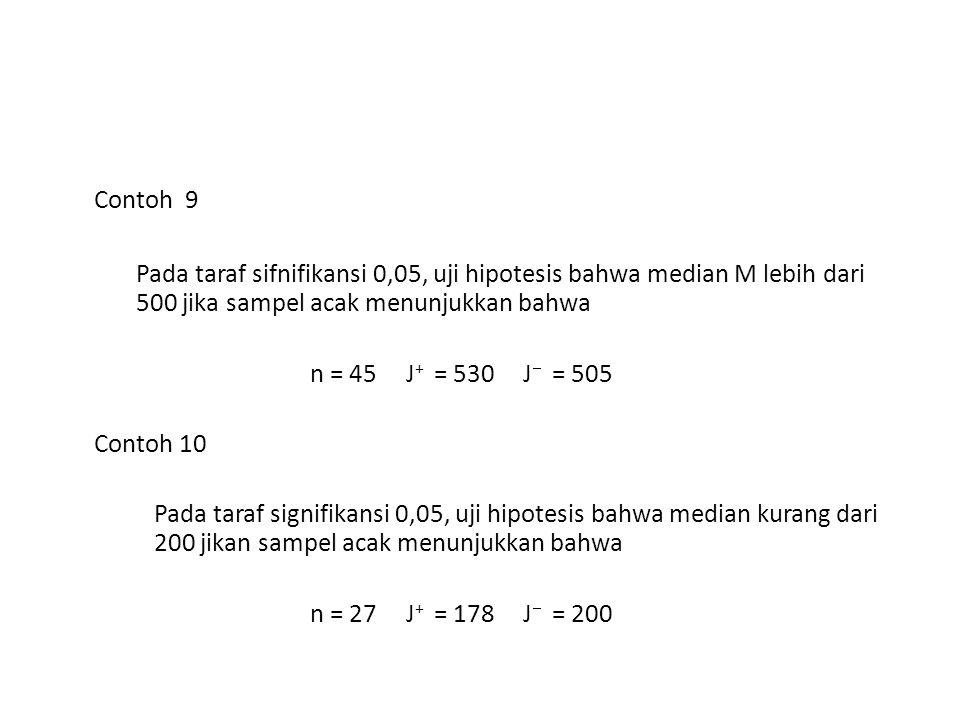 Contoh 9 Pada taraf sifnifikansi 0,05, uji hipotesis bahwa median M lebih dari 500 jika sampel acak menunjukkan bahwa.