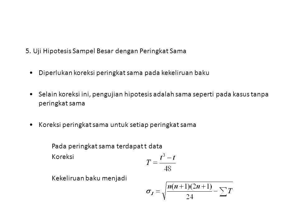 5. Uji Hipotesis Sampel Besar dengan Peringkat Sama