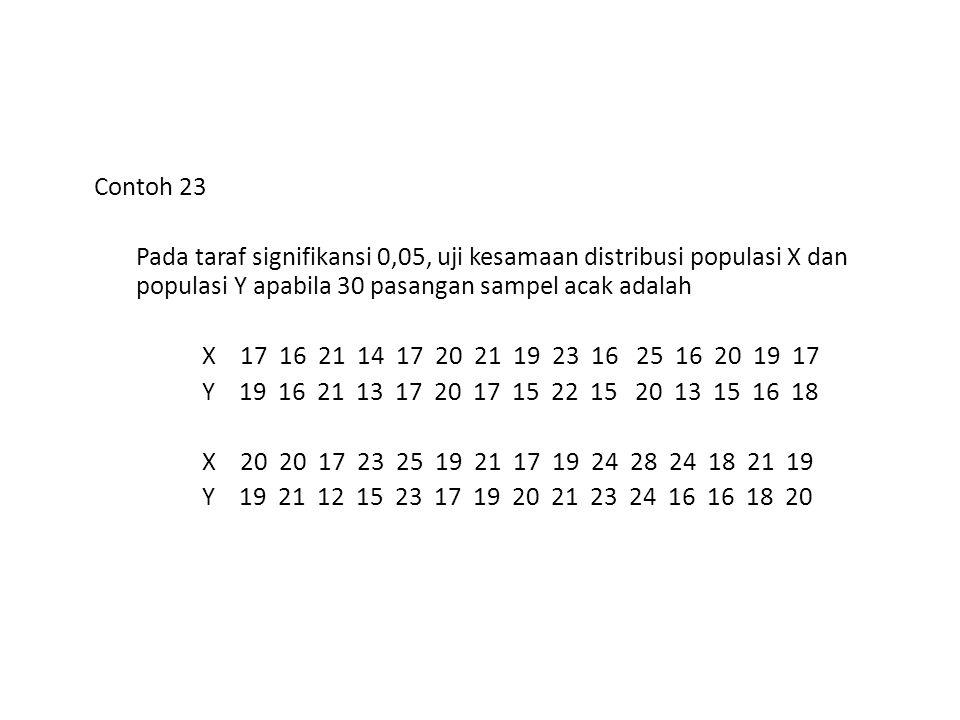Contoh 23 Pada taraf signifikansi 0,05, uji kesamaan distribusi populasi X dan populasi Y apabila 30 pasangan sampel acak adalah.