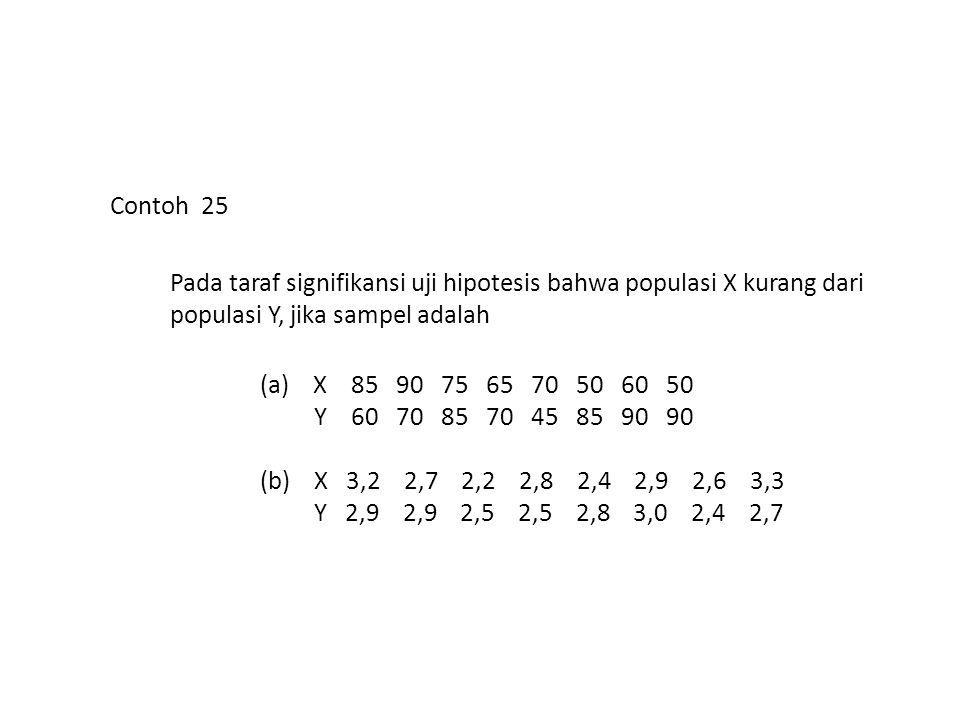 Contoh 25 Pada taraf signifikansi uji hipotesis bahwa populasi X kurang dari populasi Y, jika sampel adalah.