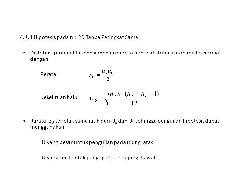 4. Uji Hipotesis pada n > 20 Tanpa Peringkat Sama